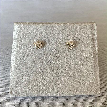 Brinco coração mini 2º furo prata 925 dourado