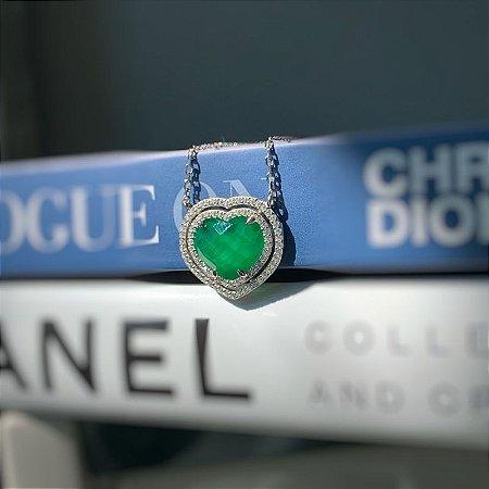 Colar coração esmeralda fusion prata 925