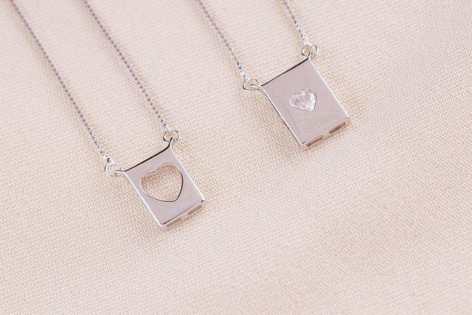 Colar Escapulário plaquinha coração prata 925