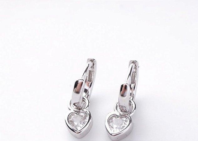 Brinco Argolinha coração cristal prata 925
