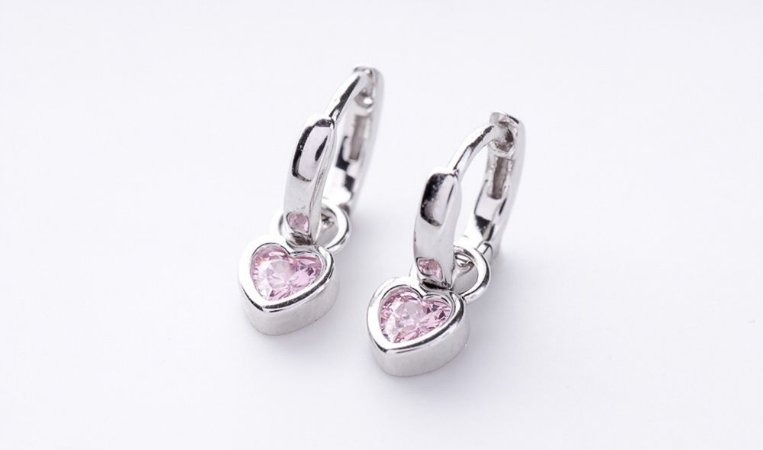 Brinco Argolinha coração Kunzita prata 925
