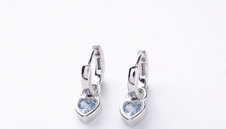 Brinco Argolinha coração água marinha prata 925