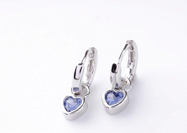 Brinco Argolinha coração tanzanita prata 925