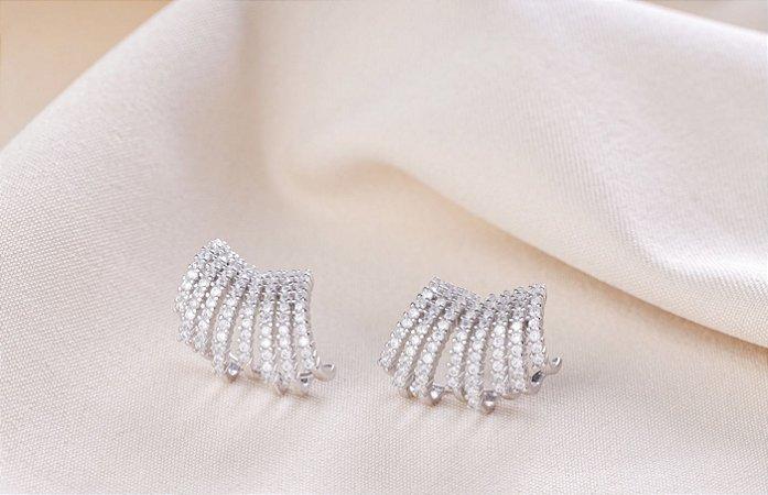 Brinco earcuff 8 fileiras zircônias cravejadas prata 925