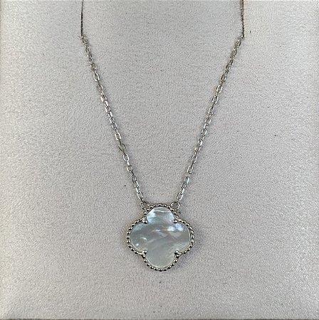 Colar flor madrepérola prata 925