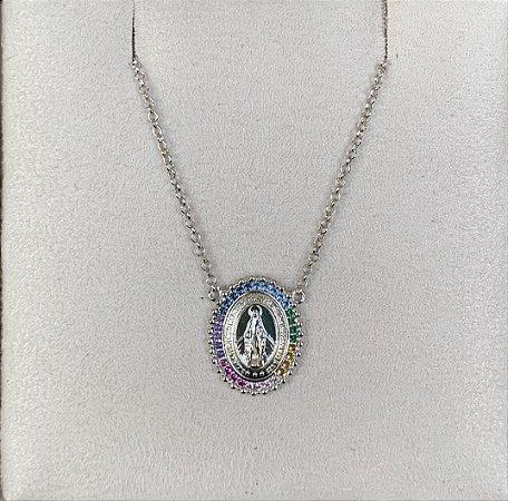 Colar Nossa Senhora Rainbow prata 925