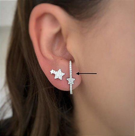 Brinco earhook star prata 925