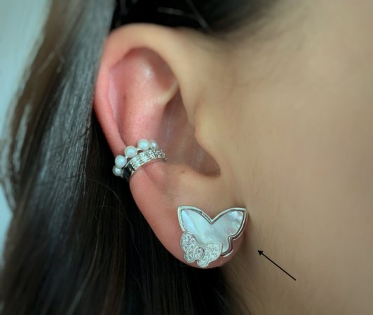 Brinco borboleta madrepérola prata 925