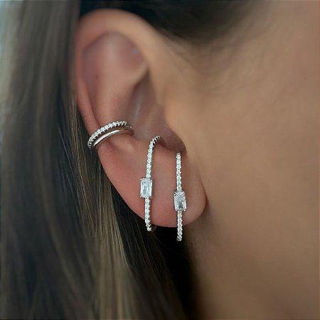 Brinco earhook retângulo prata 925