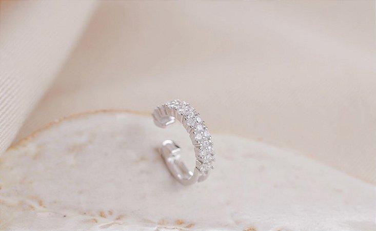 Piercing cravejado prata 925