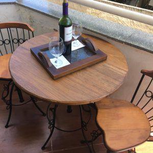 conjunto Banqueta bistrô em ferro madeira regulagem