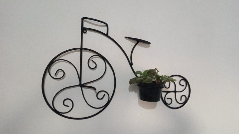 Bicicleta de Ferro Enfeite de Parede com Porta Vaso