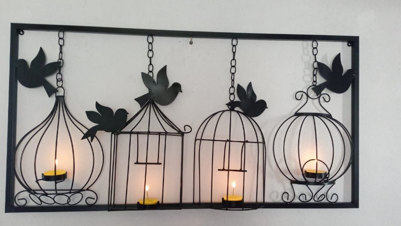 Moldura Artesanal Em Ferro Painel Pássaros