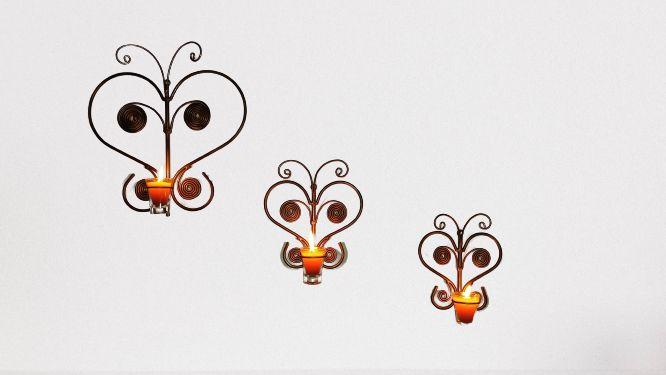 Trio 3 Suporte Borboleta para vela de Parede artesanal em ferro decorativos
