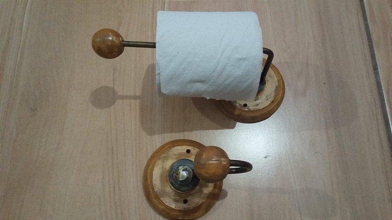 Conjunto Banheiro Artesanal Suporte Porta Papel Higiênico Mais Cabide