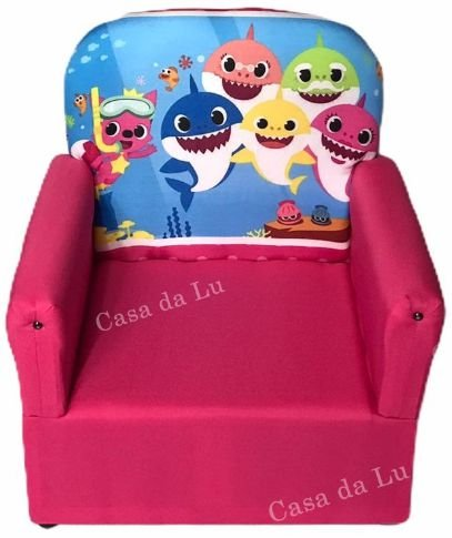 Mini Sofa Infantil Baby Shark Rosa