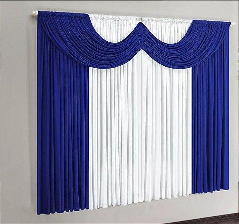 Cortina de Malha para Sala e Quarto 2,00  x 1,70 - Azul/Branco