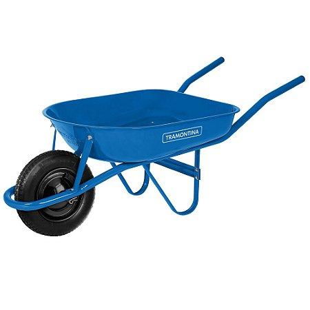 Carrinho de Mão com Caçamba Rasa Metálica Azul 50L - Tramontina