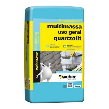 Reboco Pronto Cinza 15Kg - Quartzolit