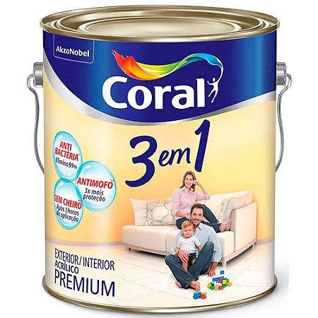 Tinta Acrílica Premium Fosco 3 em 1 Branco 3,6 Litros - Coral