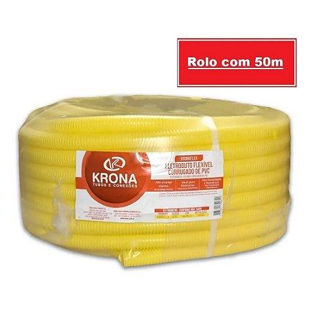 Eletroduto Flexível Tubo Corrugado Leve Amarelo 20mm x 50 Metros - Krona