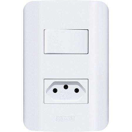 Conjunto 1 Interruptor Paralelo + Tomada 2P+T 10A 250V Branca Canoa Romazi