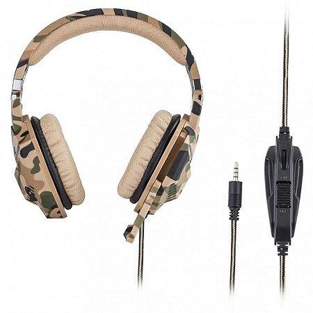 Headset Gamer P3 Camuflado c/ Microfone p/ Ps4/ X-one e Celular Dex - Df-508