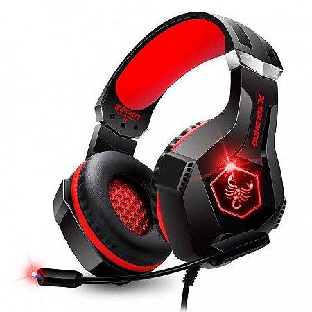 Headset Gamer Scorpion Com Fio Microfone Articulado e Led Rgb Vermelho - Gh-x1000