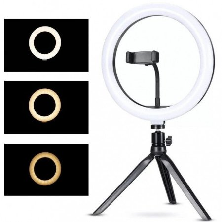 Iluminador Ring Ligth 10 Polegadas para Foto e Video 120 Leds Dimelizavel 3200k a 5600k Com Tripe Exbom - Ilum-r10w12
