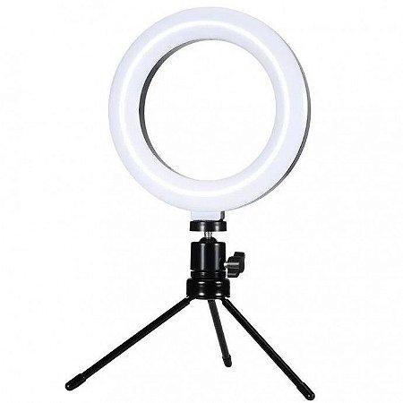 Iluminador Ring Ligth 6 Polegadas para Foto e Video 48 Leds Dimerizável 3200k a 5600k Com Tripe Exbom - Ilum-r06w5