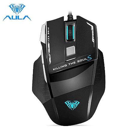 Mouse Gamer Profissional 4800dpi 7 Botões Programáveis RGB Led Com Fio Aula - S12