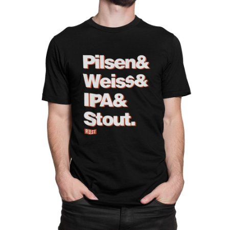 Camiseta Cerveja Artesanal Estilos Cerveja Preta