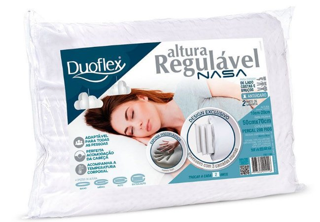 Travesseiro Nasa Altura Regulável 50x70x10 a 20cm - Duoflex