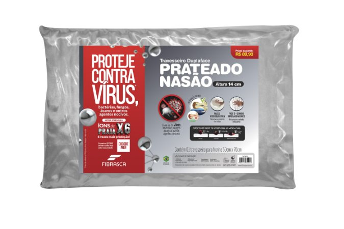 Travesseiro Nasa Alto  Contra Vírus – Para Fronhas 50X70Cm