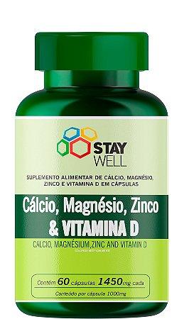 Cálcio, Magnésio, Zinco e Vitamina D 1450mg - 60 Cápsulas