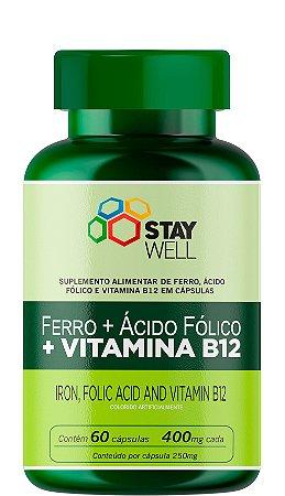 Ferro, ácido fólico e vitamina B12 400mg - 60 Cápsulas