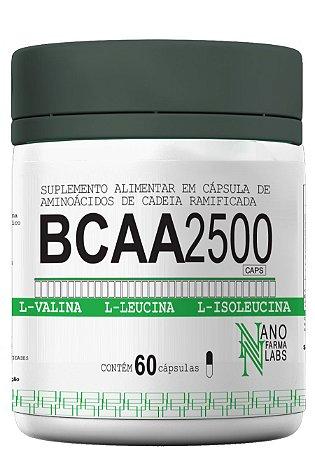 BCAA 2500 - Suplemento Alimentar com 60 cápsula de aminoácido de cadeia ramificada.