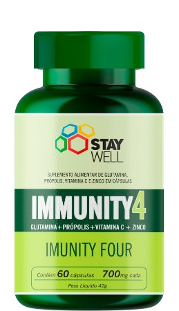 Immunity4 - Glutamina + Própolis + Vitamina C + Zinco - 60 cápsulas