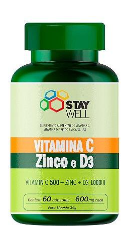 Vitamina C, Zinco e D3 - 60 Cápsulas