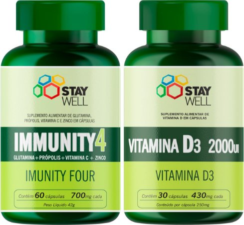Combo Imunidade + Proteção Contra Infecções Virais E Bactérias: Immunity4 + Vitamina D3 2000ui