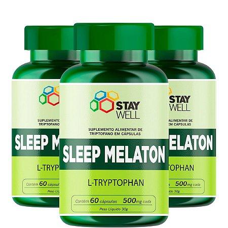 3 Unidades do Sleep Melaton 500mg - Precursor da Melatonina e Seratonina - 60 Cápsulas
