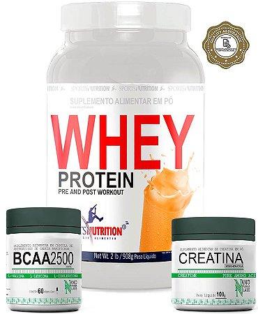 Combo Definição: Whey Protein Concentrado 908g  + Creatina 100g + Bcaa 2500 - 60 Cápsulas