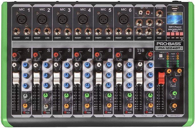 Mesa de Som Pro Bass 8 Canais PM-1224BT com Phantom Power USB e Bluetooth