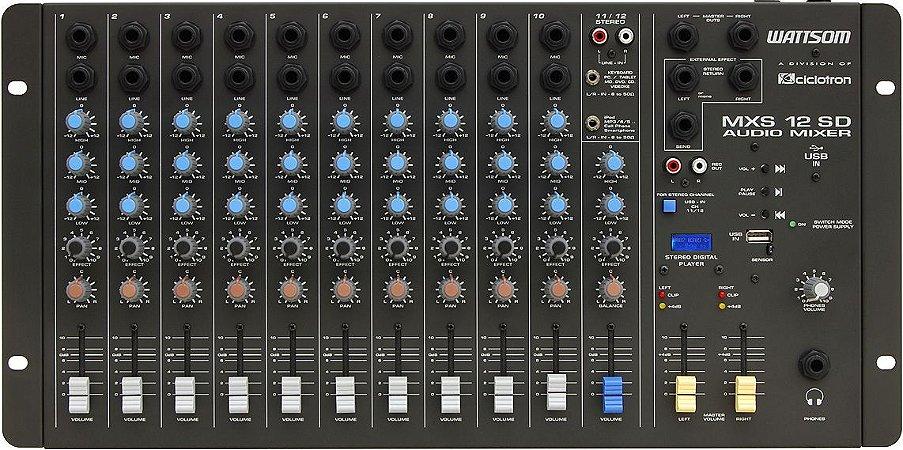 Mesa De Som Stereo 12 Canais Mxs 12 Sd Wattsom Com Usb e Controle Remoto