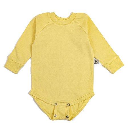 Body manga longa extensível amarelo