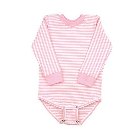 Body manga longa listrado rosa