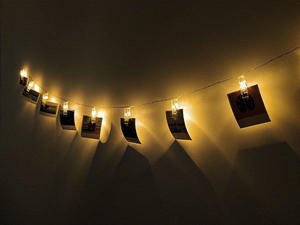 Varal de led + 10 fotos polaroids