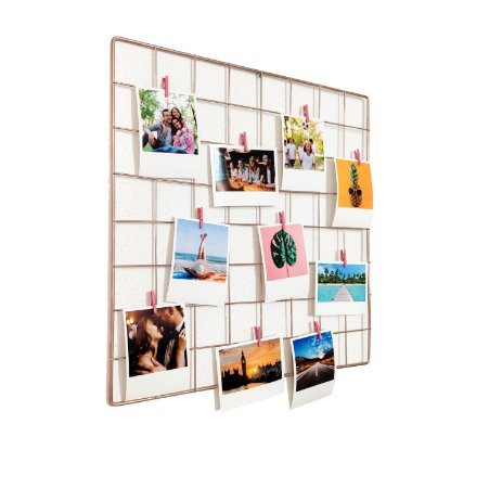 Memory Board Rose Gold 40x40cm + 10 Fotos Polaroids + Brinde