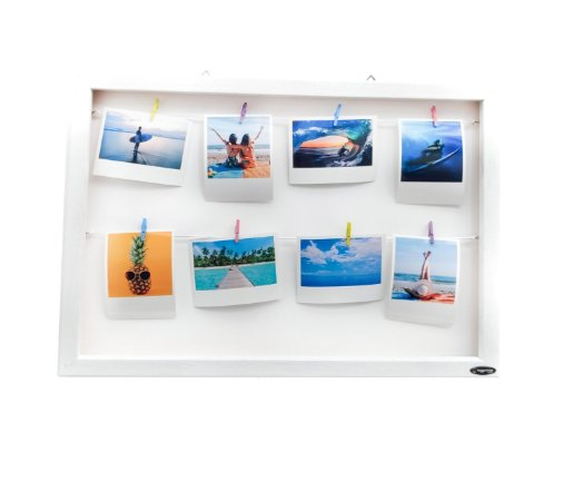 Quadro de fotos varal 30x45cm + 8 Fotos Polaroids + Brinde