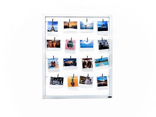 Quadro de fotos varal 55x45cm + 12 Fotos Polaroids + 12 Pregadores